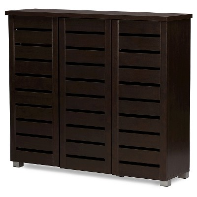 Adalwin Modern and Contemporary 3-Door Wooden Entryway Shoes Storage Cabinet - Dark Brown - Baxton Studio