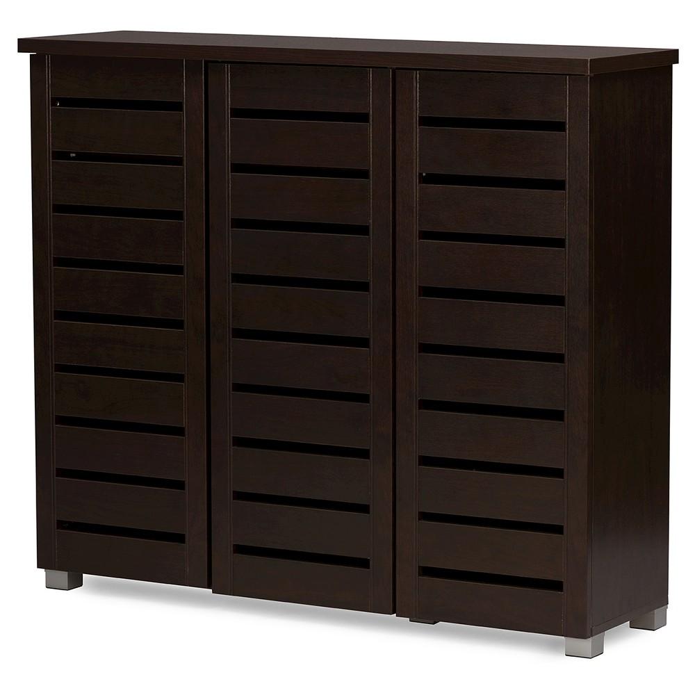 Adalwin Modern and Contemporary 3-Door Wooden Entryway Shoes Storage Cabinet - Dark Brown - Baxton Studio