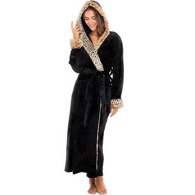 Alexander Del Rossa Women's Warm Faux Fur Fleece Hooded Bathrobe