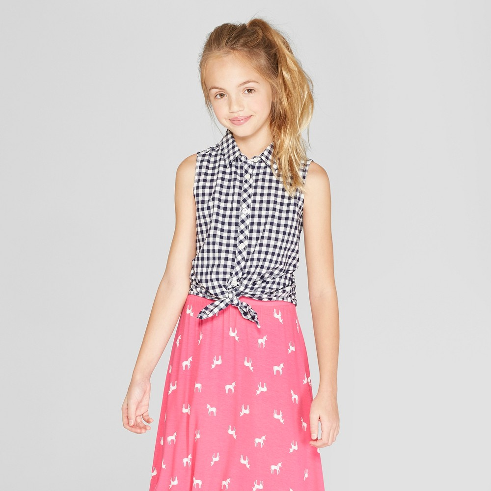 Girls' Gingham Tie Front Button-Down - Cat & Jack Navy XS, Blue