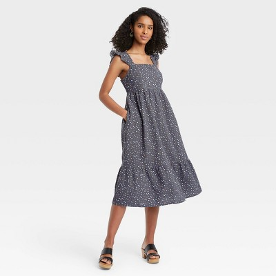 Women's Floral Print Ruffle Sleeveless Dress - Universal Thread™ Navy