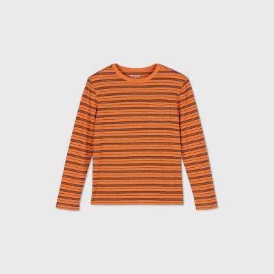 Boys' Striped Long Sleeve T-Shirt - Cat & Jack™ Orange/Black XS