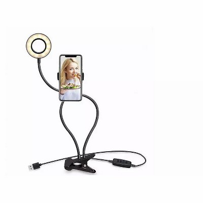 Link LED Selfie Ring Light with Cell Phone Holder with Flexible Stand & Long Arm for Live Stream/Makeup 3 Light Modes and Brightness Levels