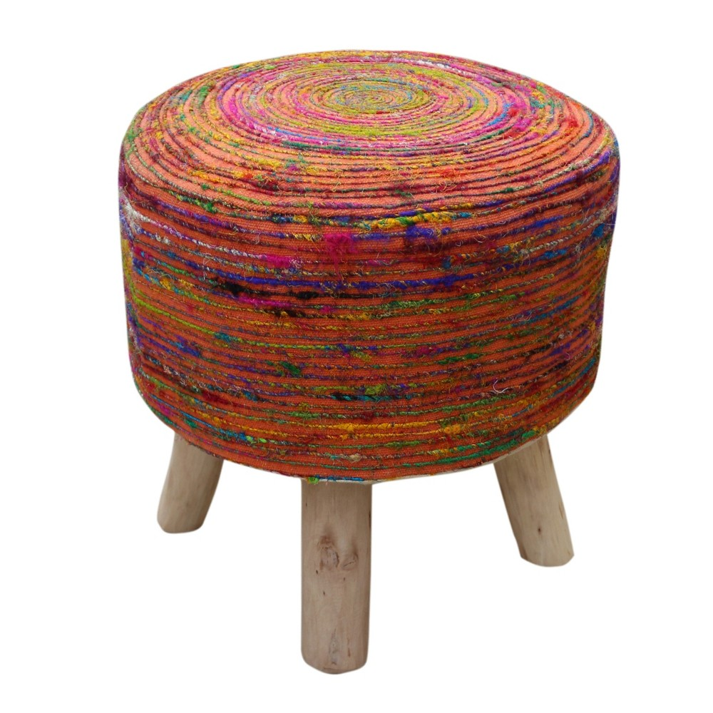 Cidney Silk Fabric Stool Coral Christopher Knight Home