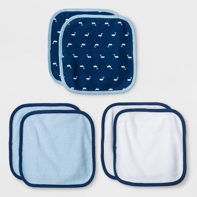 Baby Boys' 6pk Sleepy Tides Washcloths - Cloud Island™ Blue One Size
