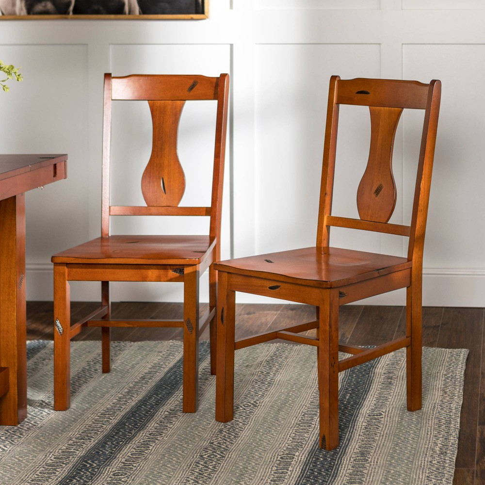 Image of Set of 2 Traditional Distressed Wood Dining Chairs Dark Oak - Saracina Home