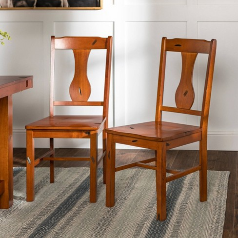 Set of 2 Traditional Distressed Wood Dining Chairs - Saracina Home - image 1 of 4