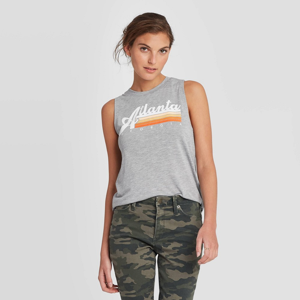 Image of Women's Round Neck Atlanta Georgia Graphic Muscle Tank Top - Modern Lux Gray L, Women's, Size: Large