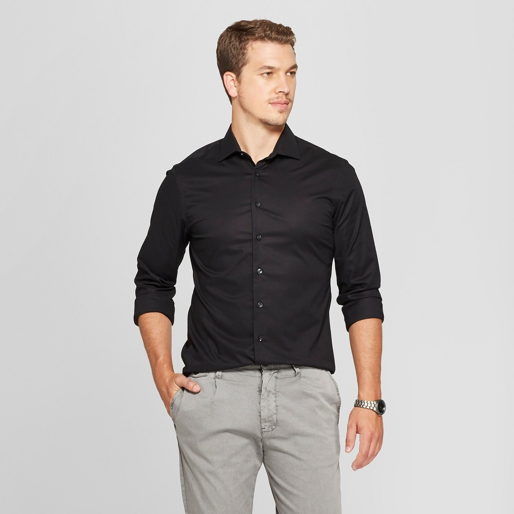 Men's Slim Fit Long Sleeve Button-Down Shirt - Goodfellow & Co Black S