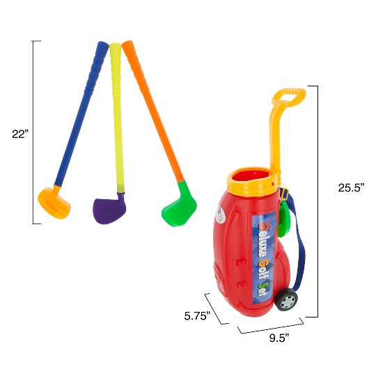 Toddler Toy Golf Play Set with Plastic Bag, 2 Clubs, 1 Putter, 4 Balls, Putting Cup Indoor or Outdoor Use for Toddlers Boys and Girls by Hey! Play! image number null