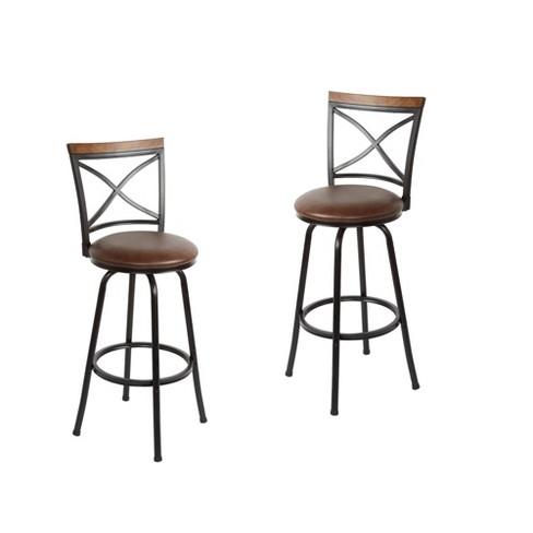 Set of 2 Frankie Adjustable Swivel Bar Stools - Silverwood - image 1 of 3