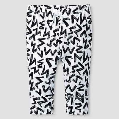 Baby Scribble Print Jogger Pants - Cat & Jack™ White 0-3M