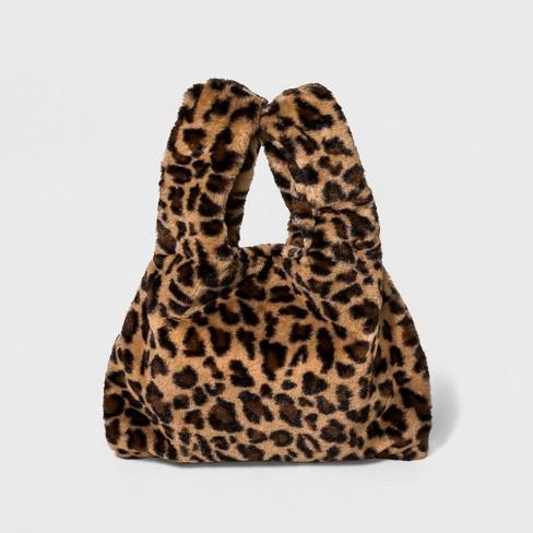 Faux Fur Leopard Print Tote Handbag Wild Fable Brown
