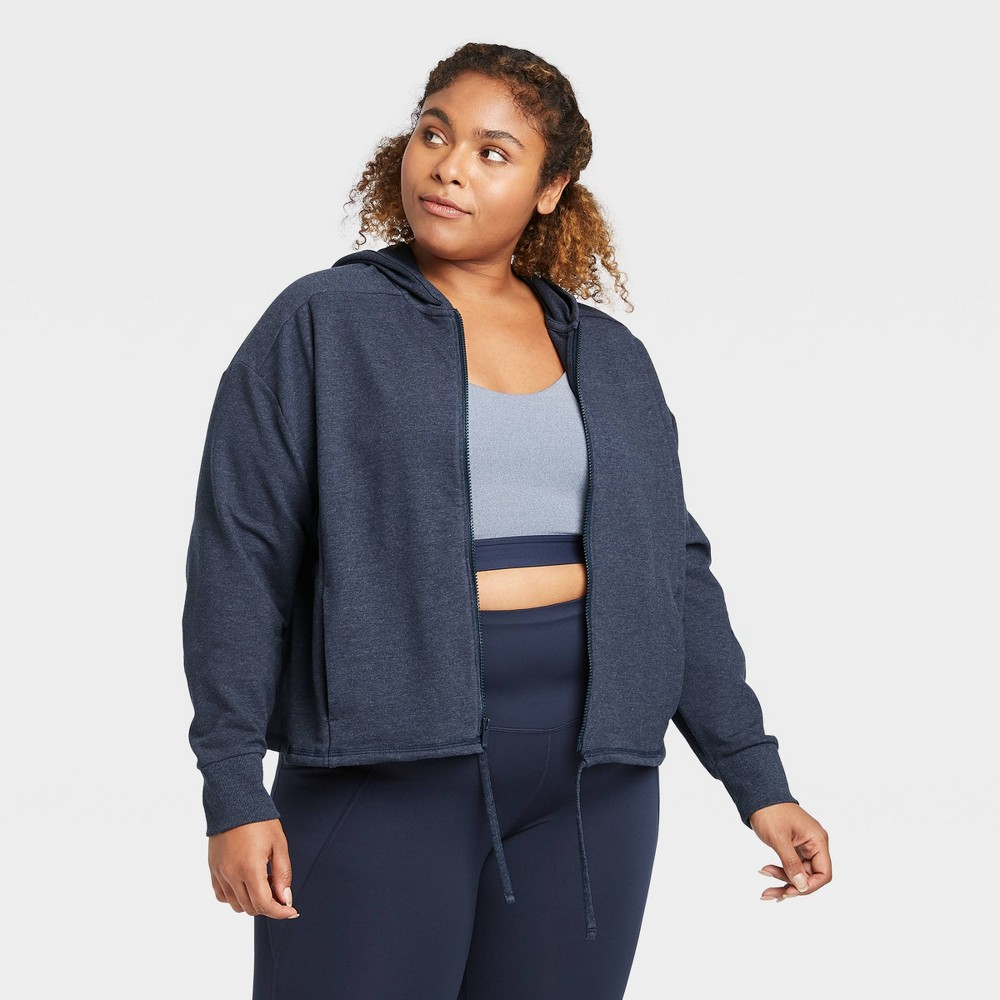 Women's Plus Size French Terry Full Zip Hoodie - All in Motion Navy 2X, Blue was $30.0 now $13.5 (55.0% off)
