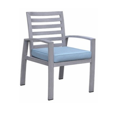 Cabo 2pk Aluminum Frame Armchairs with Sunbrella Cushions - Gray - Courtyard Casual