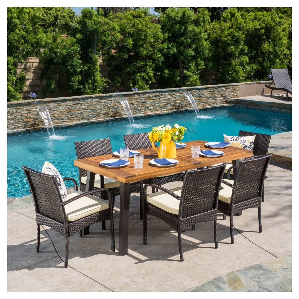 Bavaro 7pc Rectangle All-Weather Wicker and Wood Patio Dining Set - Brown/Cream - Christopher Knight Home
