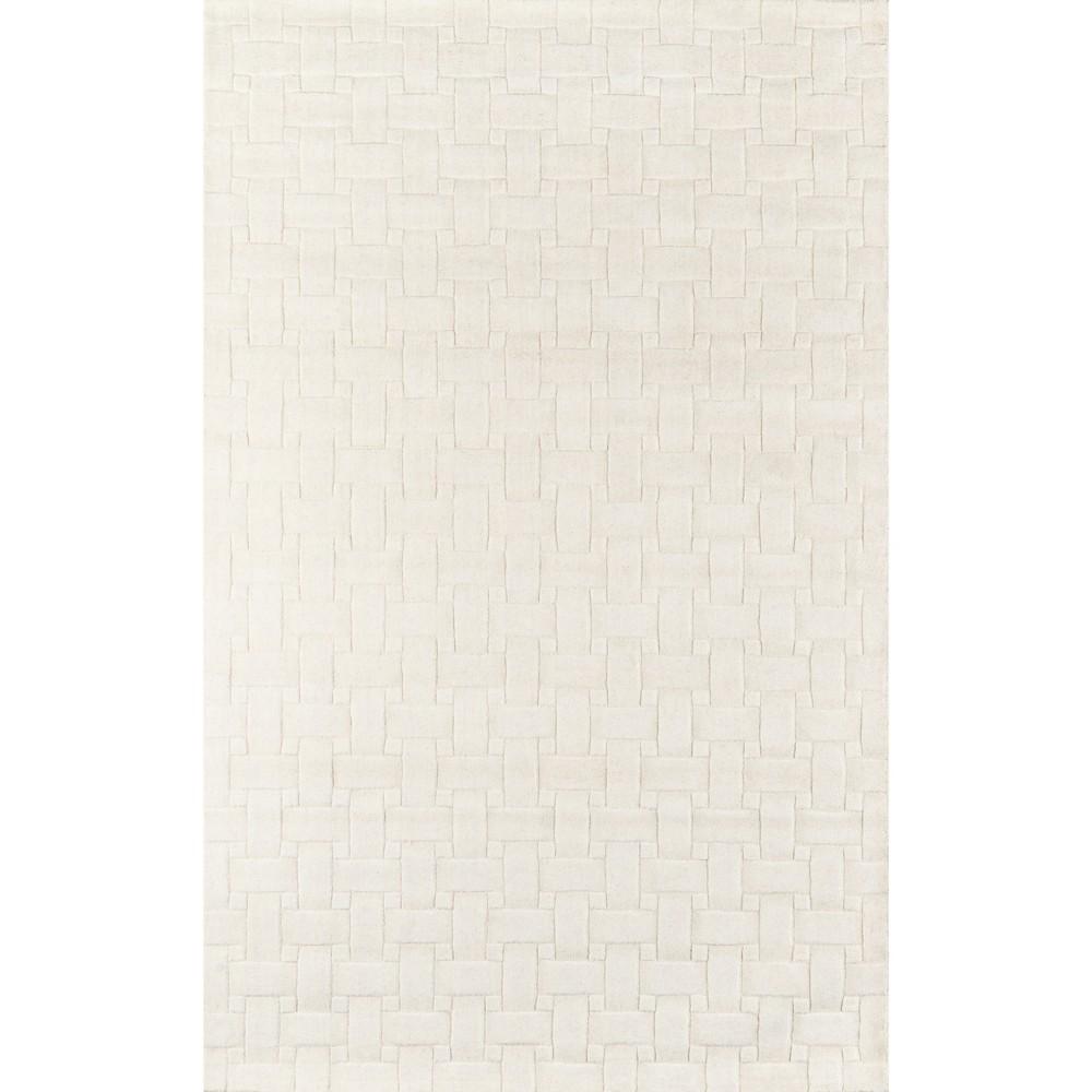 Ivory Basketweave 100% Wool Area Rug 8'x11' - Momeni