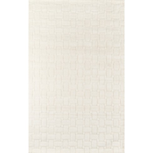 Ivory Basketweave 100% Wool Rug - Momeni - image 1 of 4