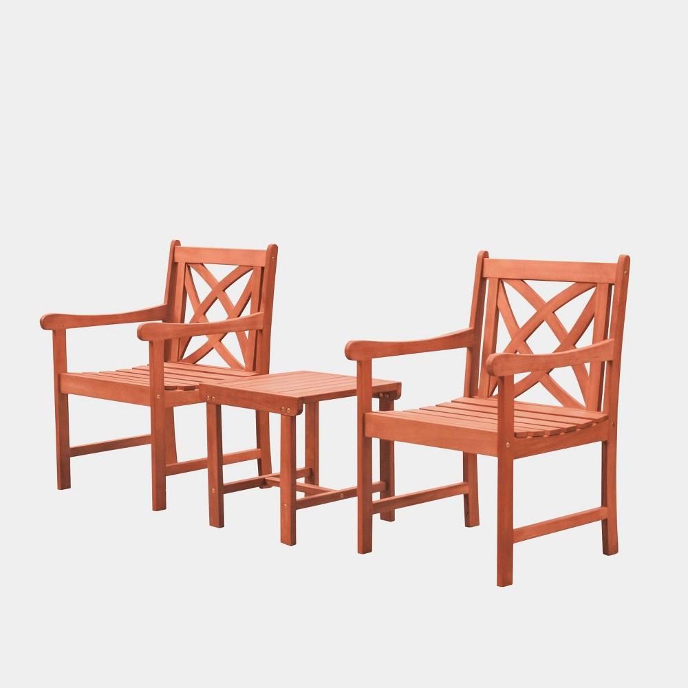 Malibu Outdoor Patio 3pc Wood Dining Set, Tan