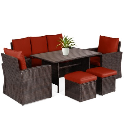 Best Choice Products 7-Seater Conversational Wicker Dining TableOutdoor Patio Furniture Set w/ Cover