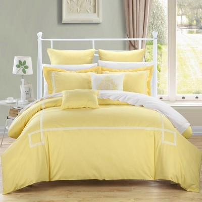 Chic Home Woodford Elegant Microfiber Embroidered Comforter Bed In A Bag Set 11 Piece - Yellow