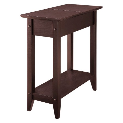 American Heritage Flip Top Table Brown - Convenience Concepts - image 1 of 4
