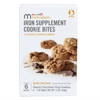 Munchkin Milkmakers 6pk Prenatal Iron Supplement Cookie Bites - Chocolate Chip