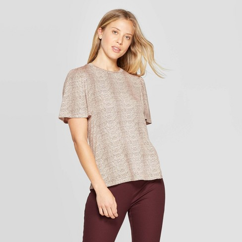 Women's Snake Print Short Sleeve Scoop Neck T-Shirt - A New Day™ Brown - image 1 of 3