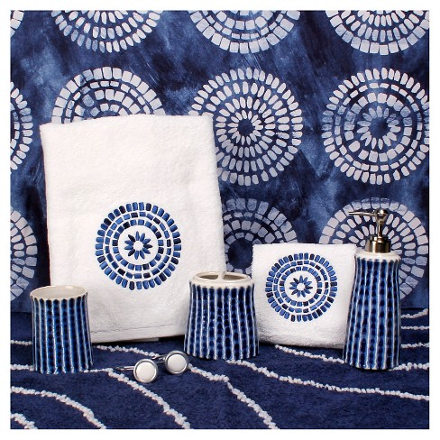 Waterfall Fabric Shower Curtain Blue White