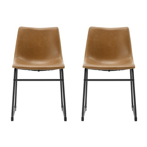 2pk 18 Faux Leather Dining Chair Whiskey Brown Saracina Home Target