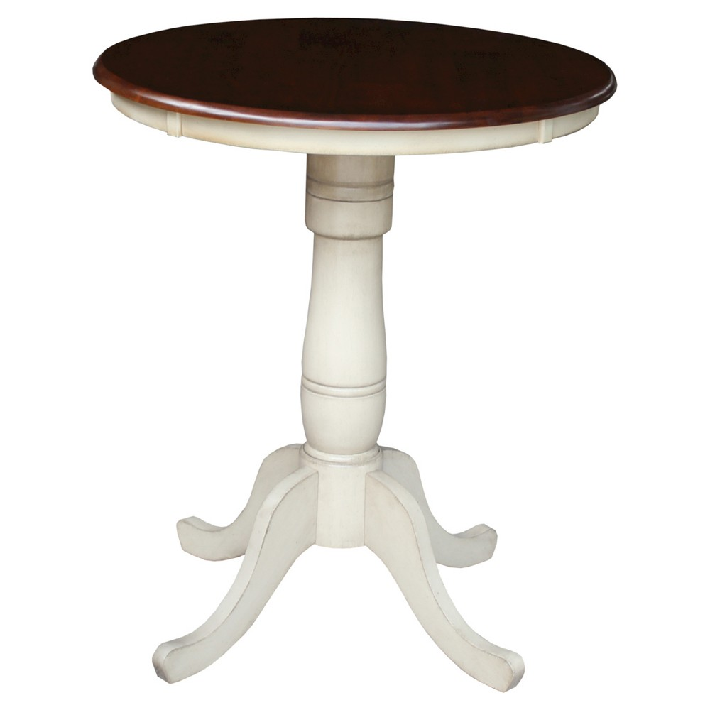 Round Top 30 Pedestal Table Wood/Antiqued Almond & Espresso - International Concepts, Brown