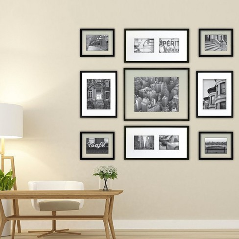 Gallery Perfect 9 Piece Multi Size Wall Frame Set Black Target