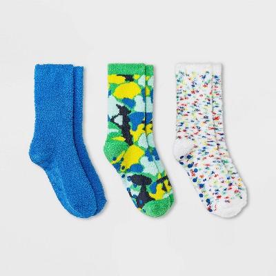 Boys' 3pk Cozy Crew Socks - Cat & Jack™ Green/Blue/White