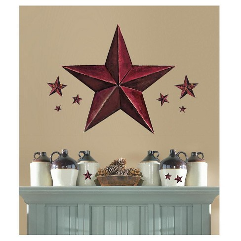 roommates barn star peel stick giant wall decal burgundy