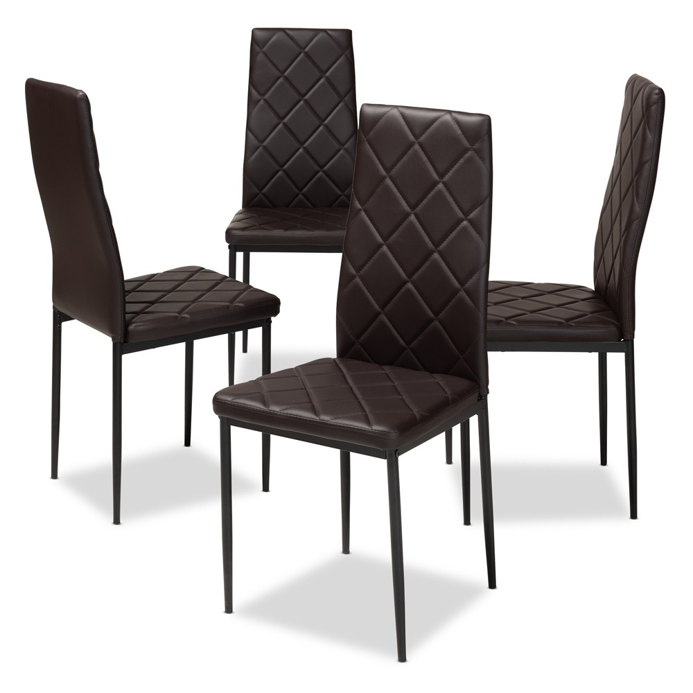 Set of 4 Blaise Modern and Contemporary Faux Leather Upholstered Dining Chairs Dark Brown - Baxton Studio Cheap
