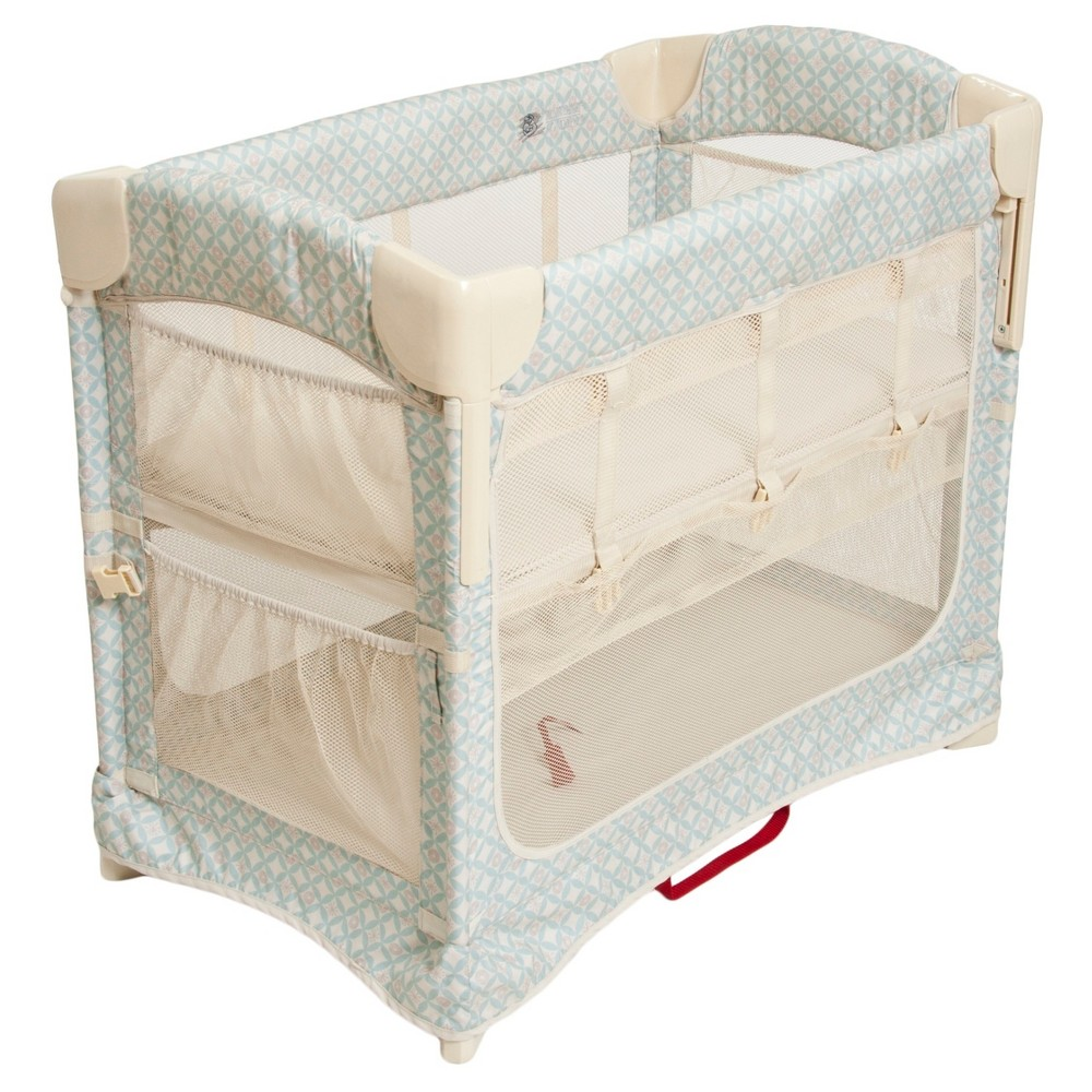 Image of Arm's Reach Mini 2-in-1 Ezee Co-Sleeper Bassinet - Turquoise Geo