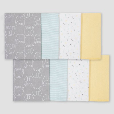 Gerber Baby 8pk Elephant Burpcloth - Yellow/White/Gray One Size