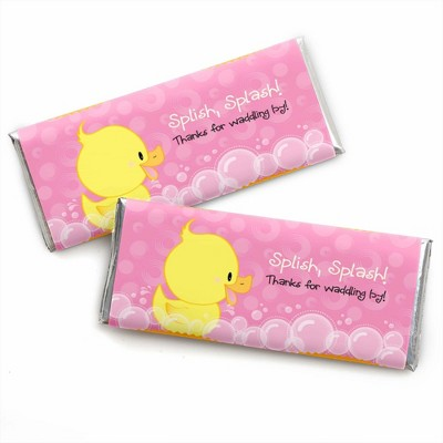 Big Dot of Happiness Pink Ducky Duck - Candy Bar Wrappers Girl Baby Shower or Birthday Party Favors - Set of 24