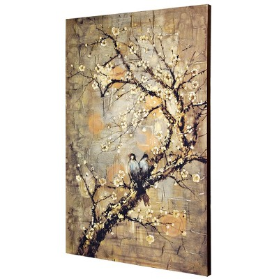 """47.2"""" Birds On Branch Hand Embellished Stretched Canvas Decorative Wall Art   Style Craft by Style Craft"""