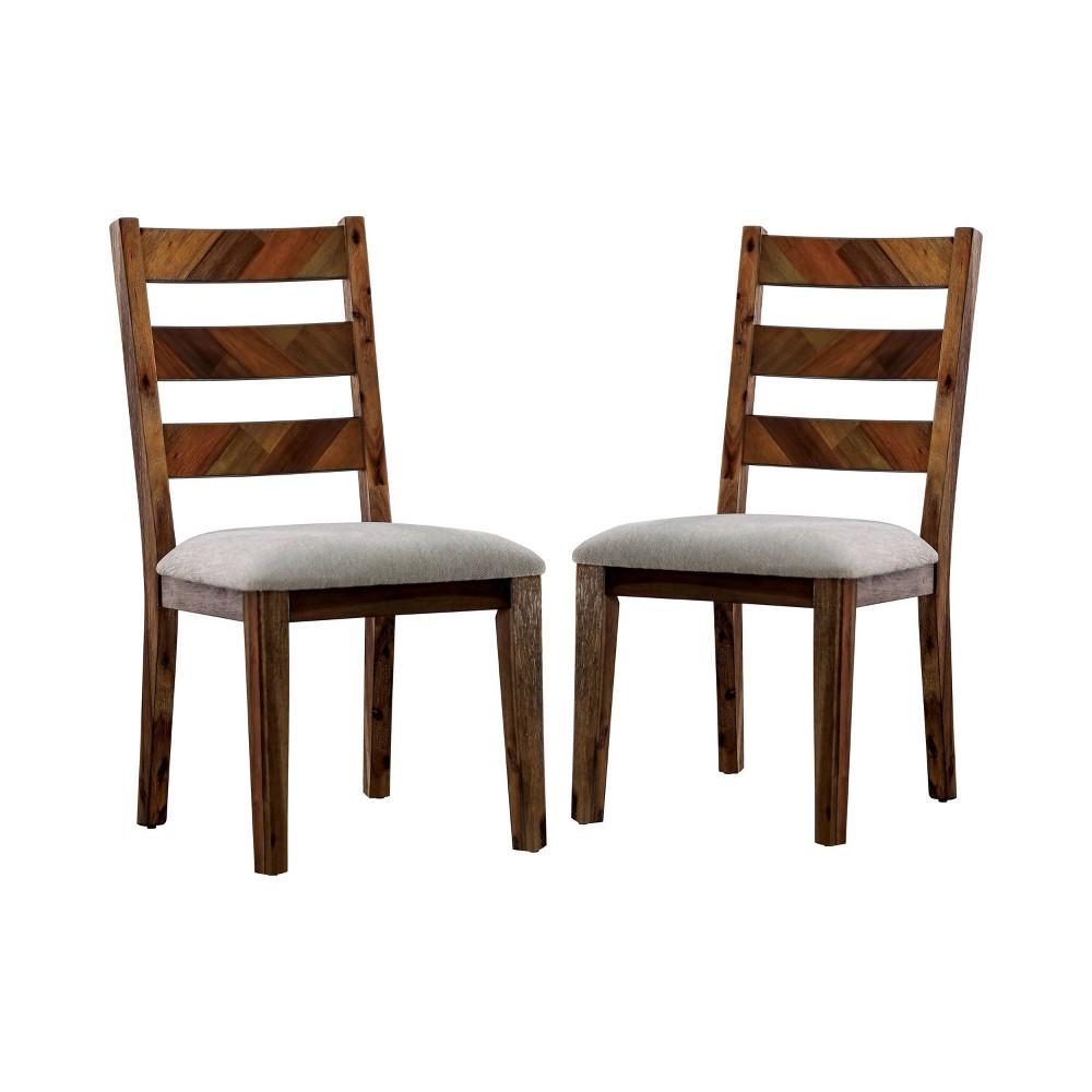 Set of 2 Larkin Upholstered Dining Chairs Light Oak - Sun & Pine