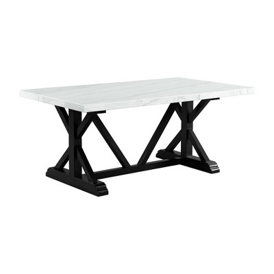 """70"""" Stratton Marble Standard Height Dining Table White/Brown - Picket House Furnishings"""