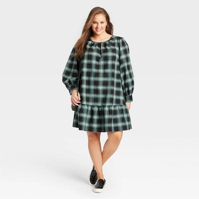 Women's Plus Size Long Sleeve Woven Dress - Ava & Viv™ Green Plaid