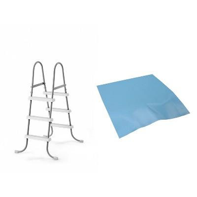 Intex Above Ground Steel Frame Swimming Pool Ladder + Pool Ladder Step Pad