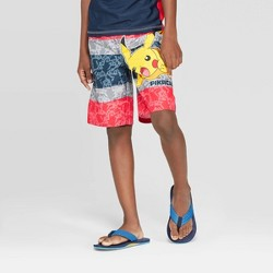 Boys' Pokemon Pikachu Print Swim Trunks