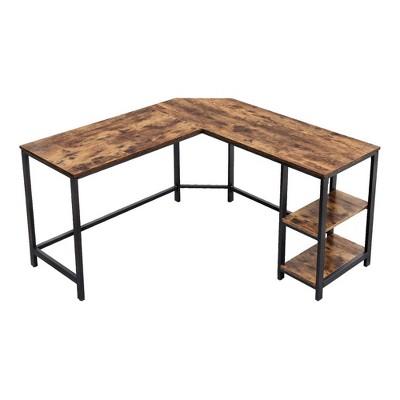 L Shape Wood and Metal Frame Computer Desk with 2 Shelves Brown/Black - The Urban Port