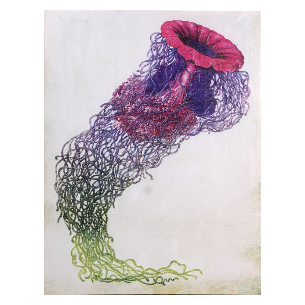 40 Jelly Fish In Purple Hues Stretched Camas Decorative Wall Art - StyleCraft, Multi-Colored