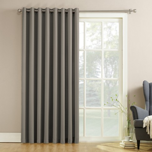 seymour extra wide energy efficient patio door curtain panel gray 100 x84 sun zero target. Black Bedroom Furniture Sets. Home Design Ideas