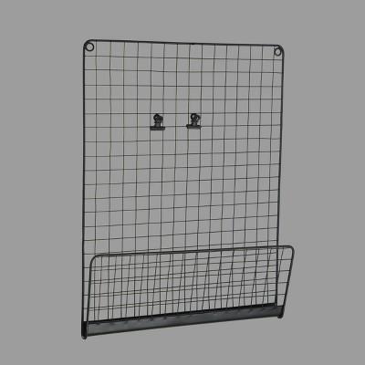 "12"" x 2 x 16"" Metal Mesh Wall Pocket with 2-Clips Black - Room Essentials™"