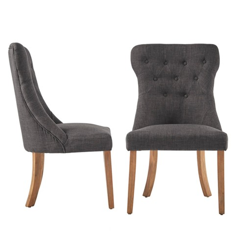 Amiford On Tufted Hourgl Dining Chair Set Of 2 Charcoal Inspire Q Target