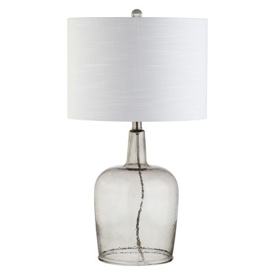 26  Augustine Glass LED Table Lamp Gray Shadow (Includes Energy Efficient Light Bulb)- JONATHAN Y